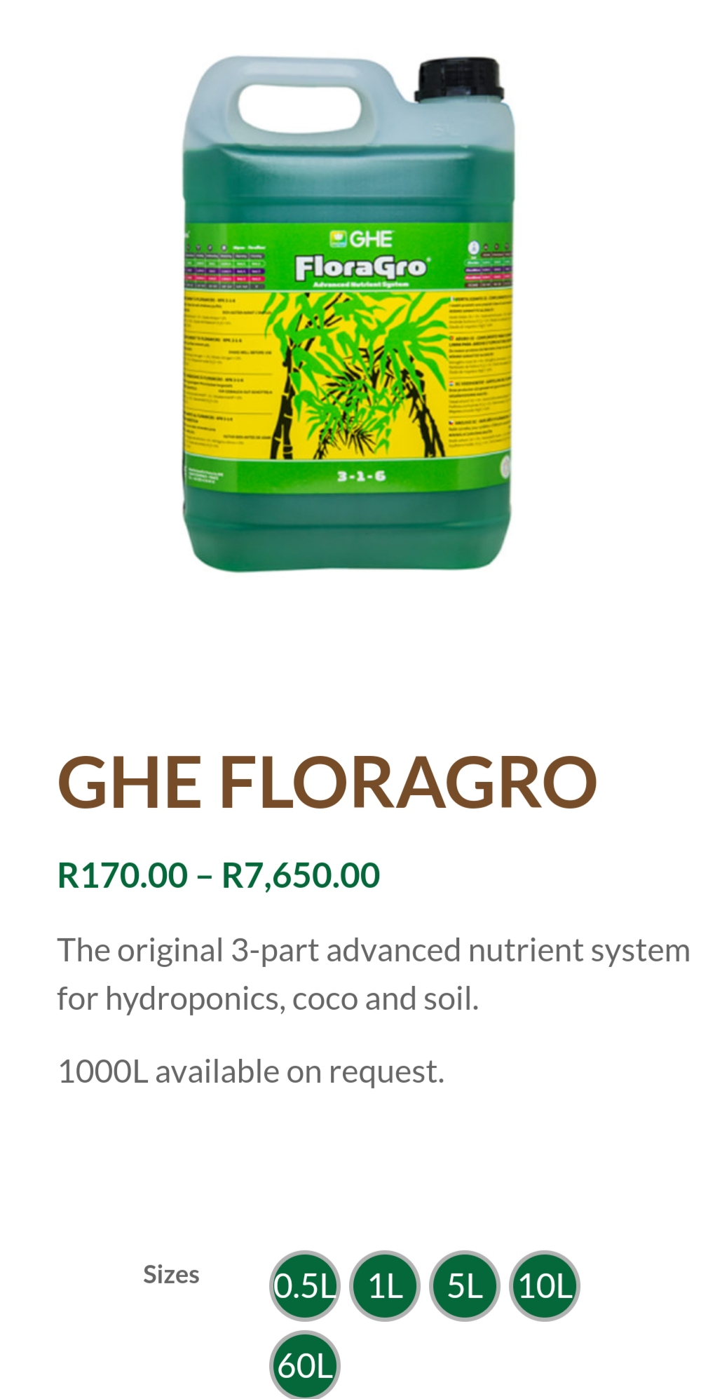 GHE Floragro Plant Nutrients
